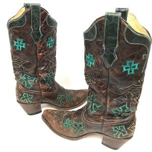 Corral Whiskey Turquoise Cross Cowgirl Boots 8.5